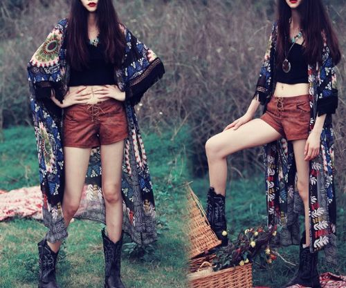 Women Boho Chiffon Long Maxi Open Cardigan Tassels Kimono Cover up
